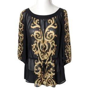 LANE BRYANT Black Sheer Tie Flourish Blouse Plus 18